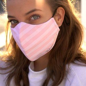 Victoria's Secret Pink Striped Logo Face Mask NEW